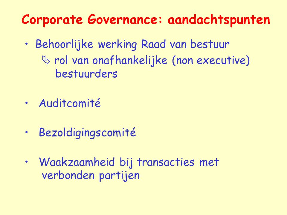Corporate Governance: aandachtspunten