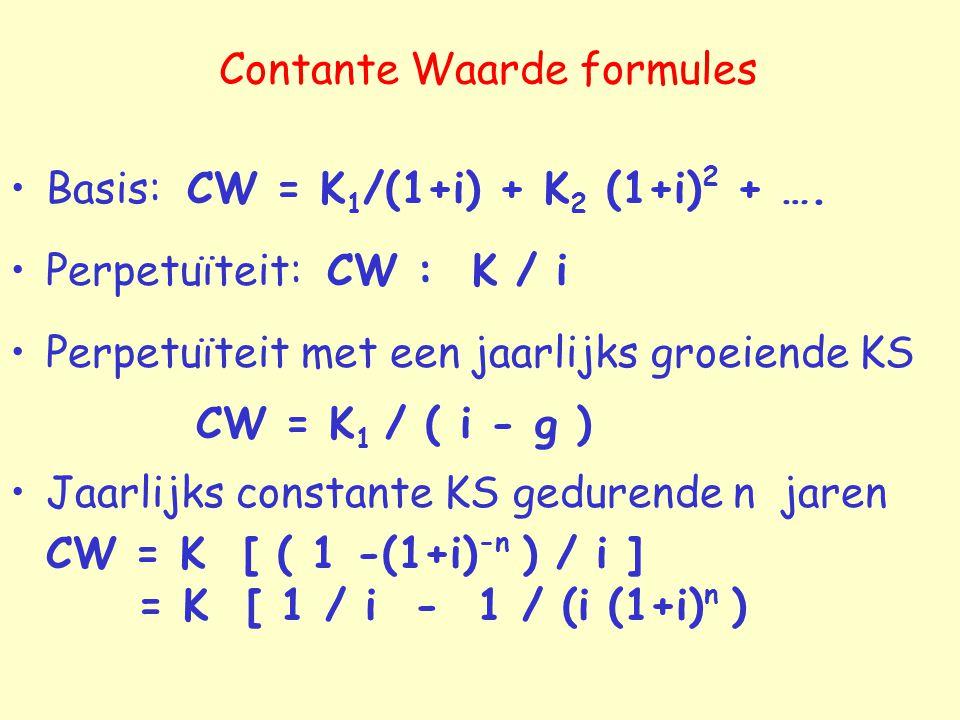 Contante Waarde formules