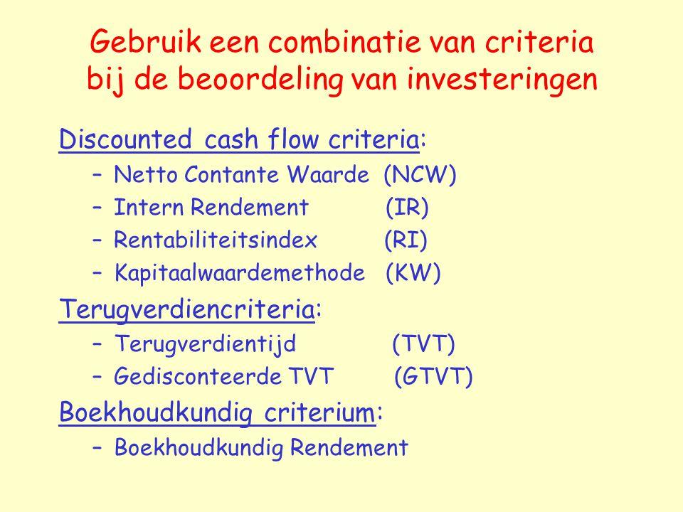 Gebruik een combinatie van criteria bij de beoordeling van investeringen