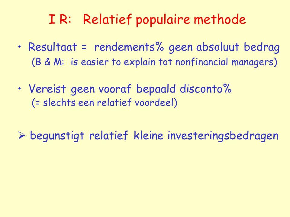 I R: Relatief populaire methode