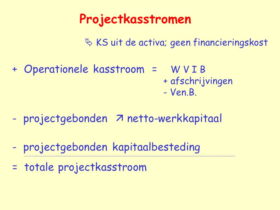 Projectkasstromen  KS uit de activa; geen financieringskost.