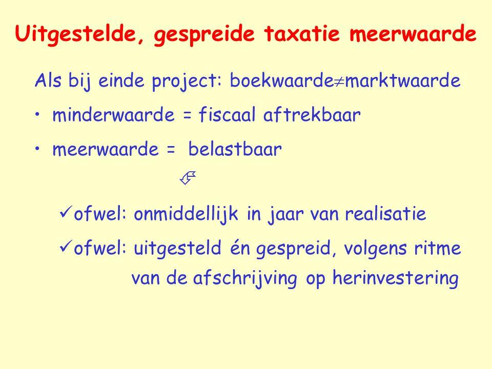 Uitgestelde, gespreide taxatie meerwaarde