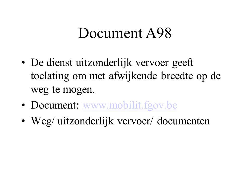 Document A98 De dienst uitzonderlijk vervoer geeft toelating om met afwijkende breedte op de weg te mogen.