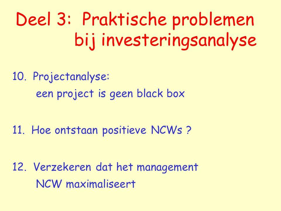 Deel 3: Praktische problemen bij investeringsanalyse