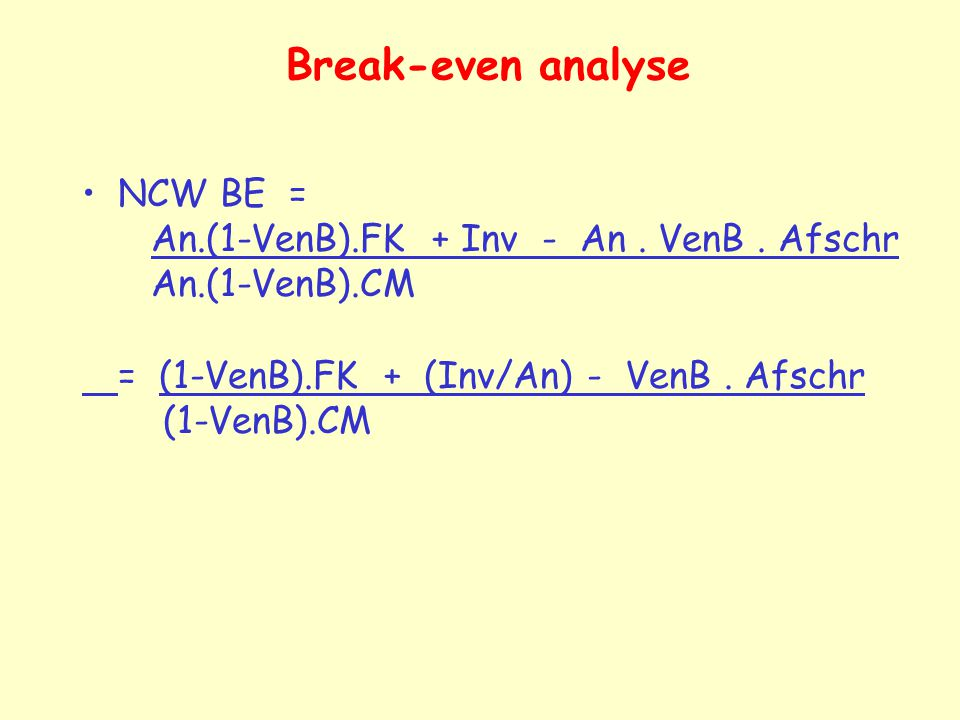 Break-even analyse NCW BE = An.(1-VenB).FK + Inv - An . VenB . Afschr An.(1-VenB).CM.