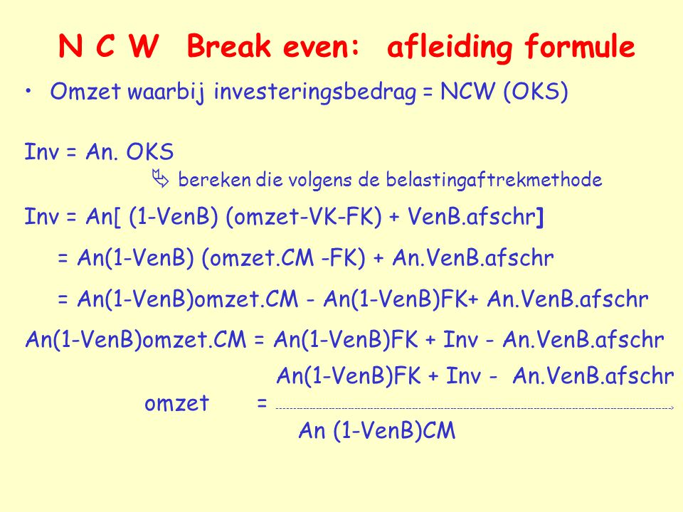 N C W Break even: afleiding formule