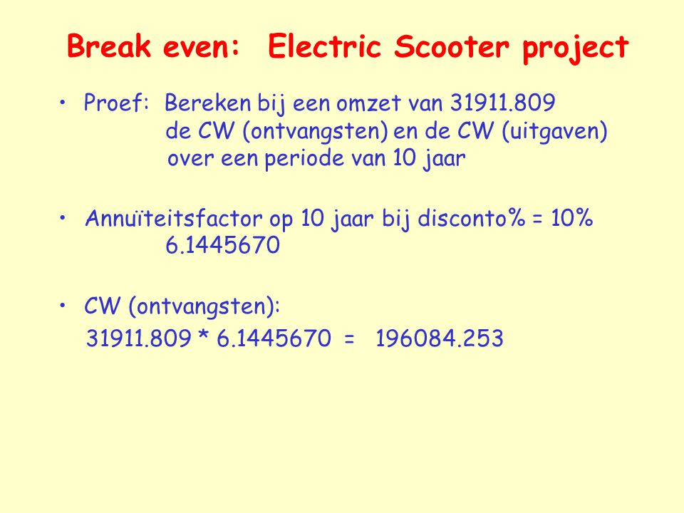 Break even: Electric Scooter project
