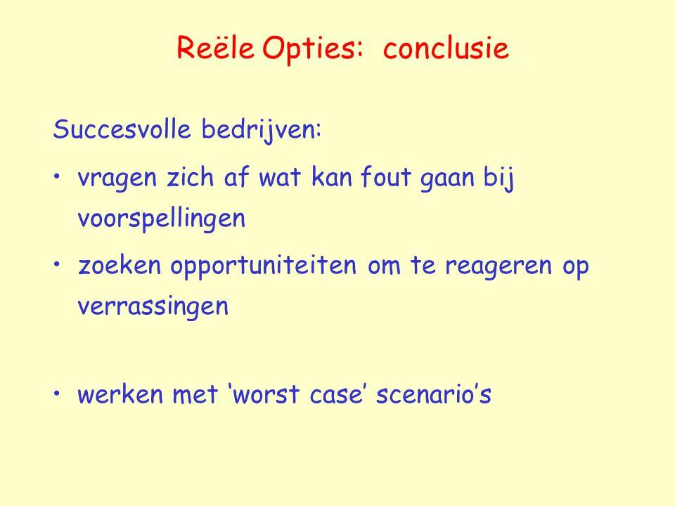 Reële Opties: conclusie