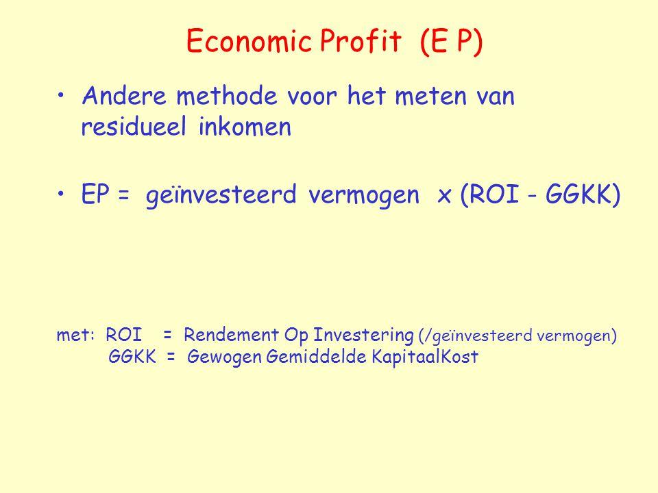 Economic Profit (E P) Andere methode voor het meten van residueel inkomen. EP = geïnvesteerd vermogen x (ROI - GGKK)