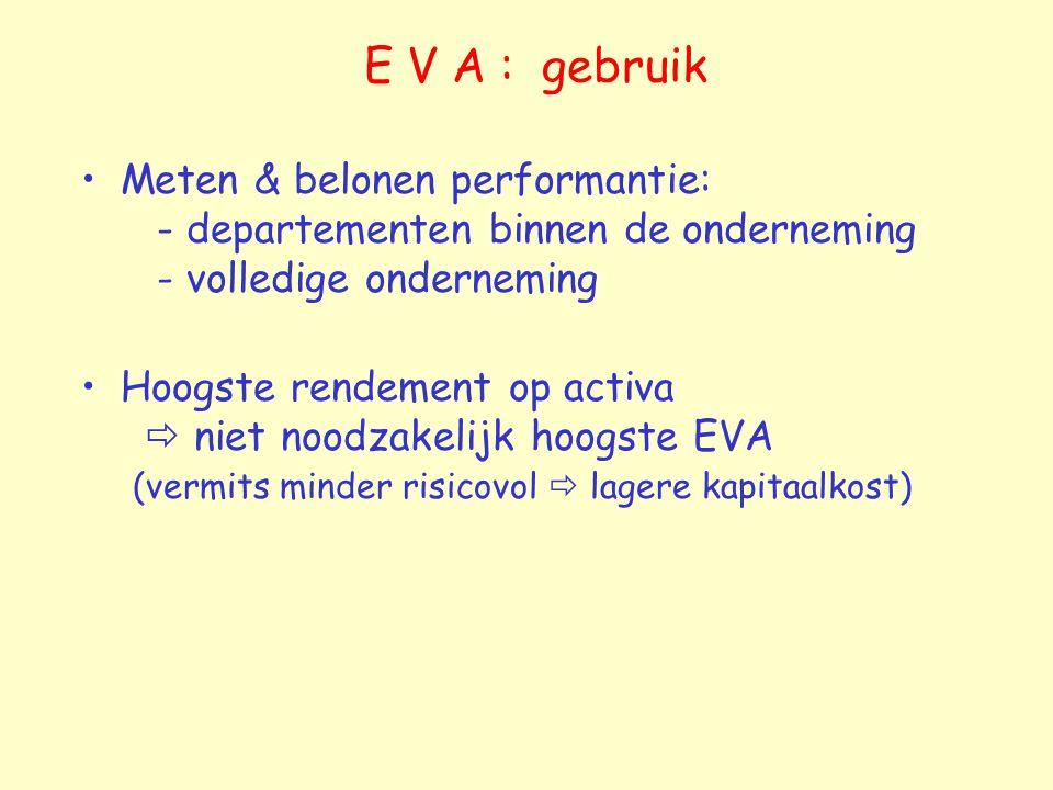E V A : gebruik Meten & belonen performantie: - departementen binnen de onderneming - volledige onderneming.