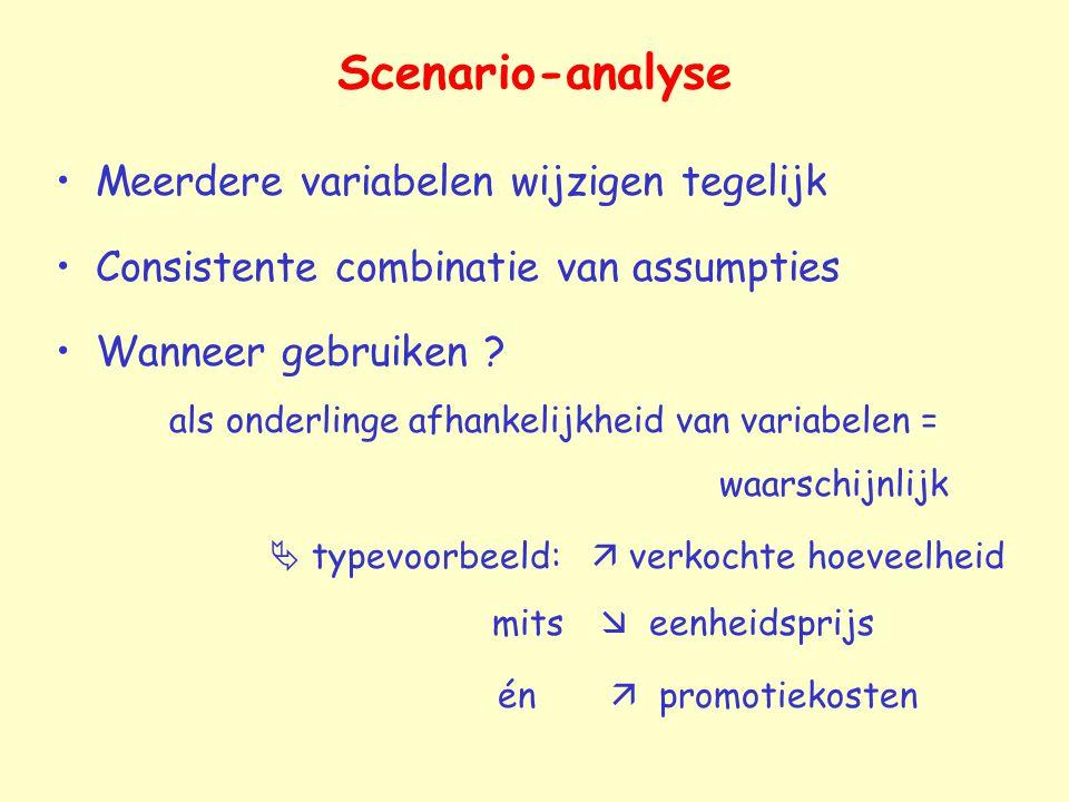 Scenario-analyse Meerdere variabelen wijzigen tegelijk