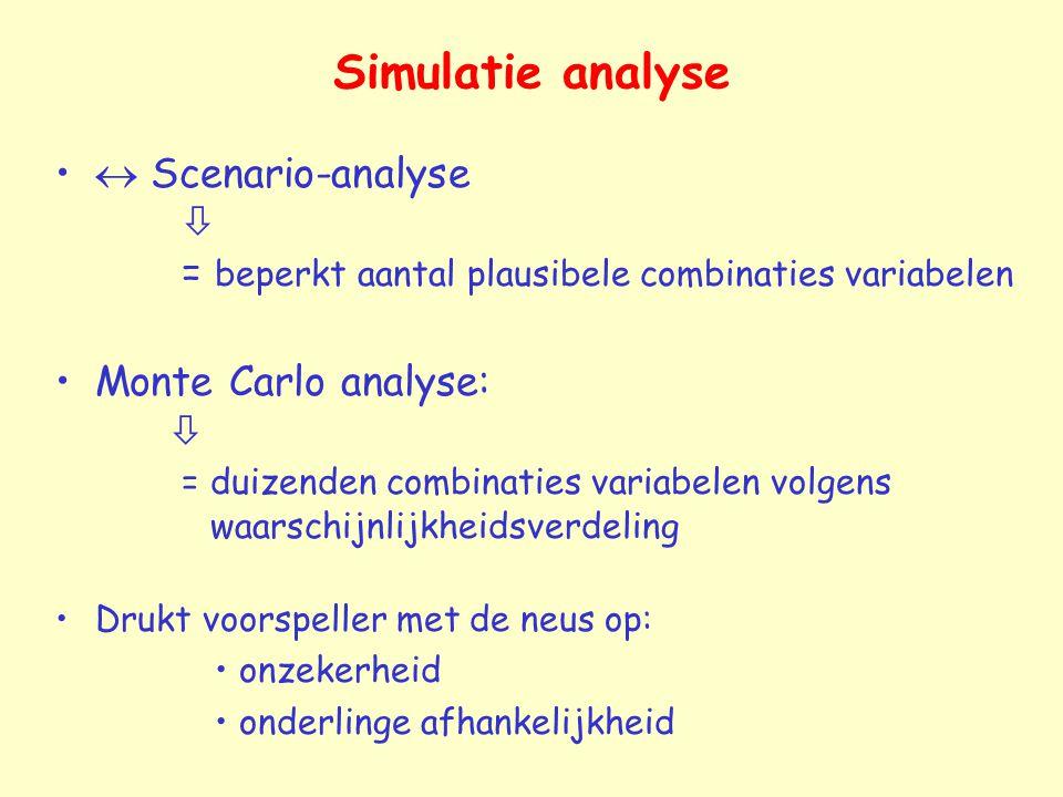 Simulatie analyse  Scenario-analyse  = beperkt aantal plausibele combinaties variabelen.
