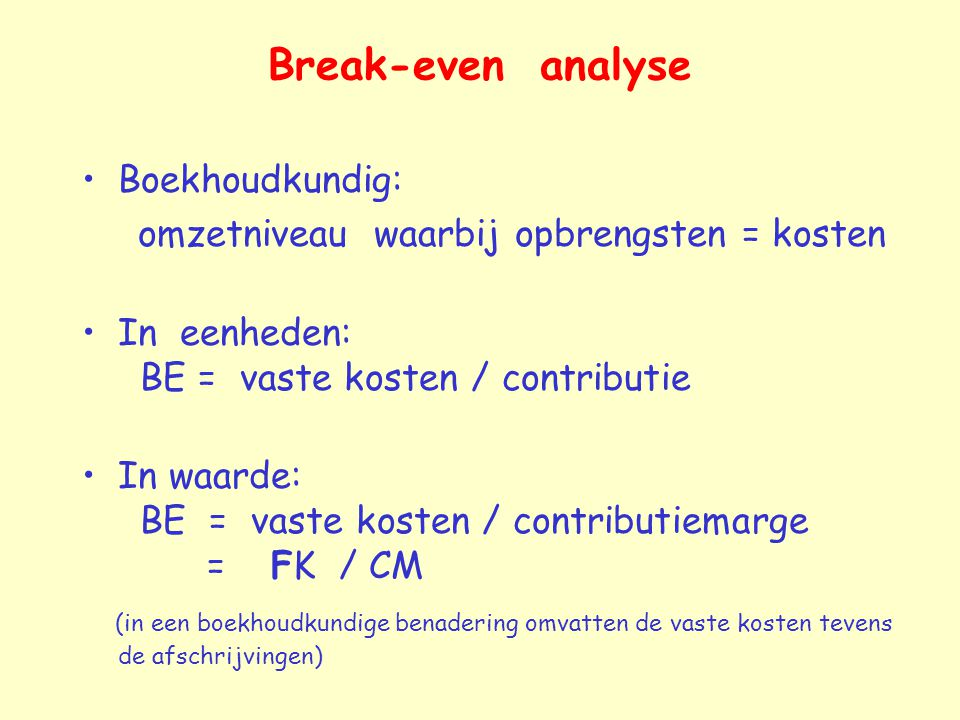 Break-even analyse Boekhoudkundig: