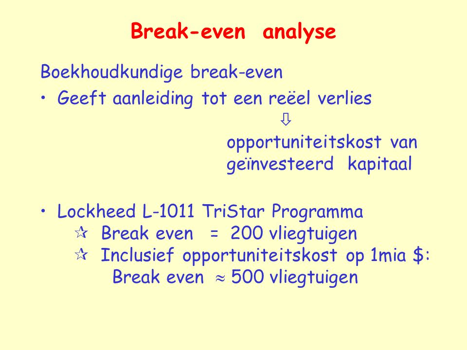 Break-even analyse Boekhoudkundige break-even