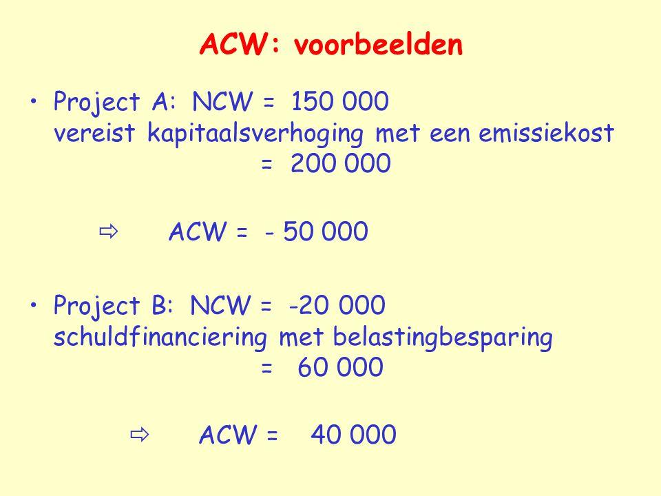 ACW: voorbeelden Project A: NCW = 150 000 vereist kapitaalsverhoging met een emissiekost = 200 000.