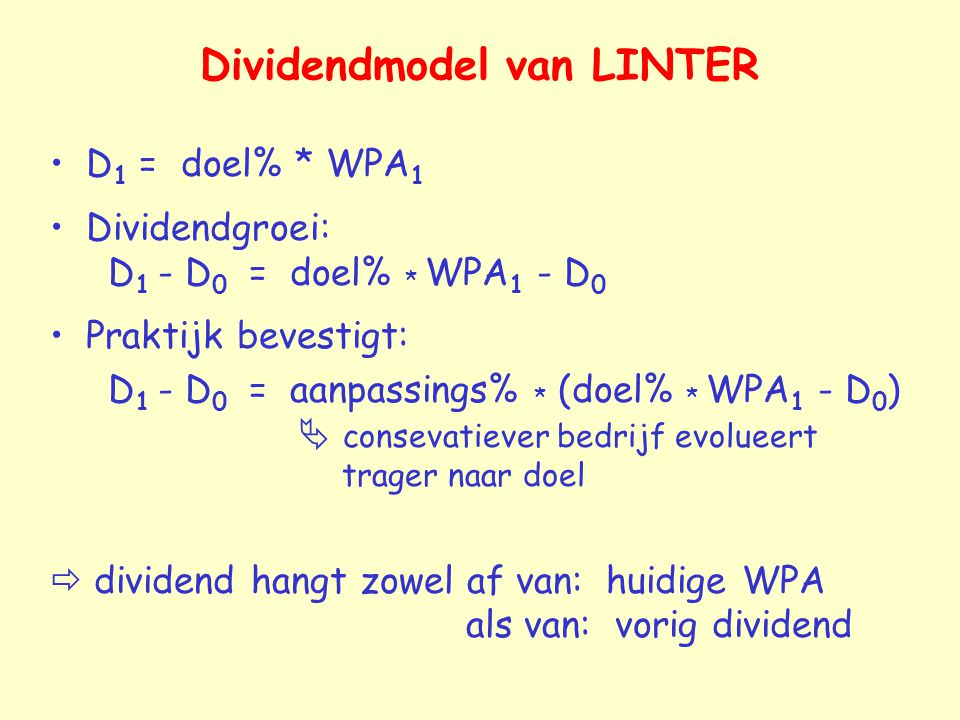 Dividendmodel van LINTER