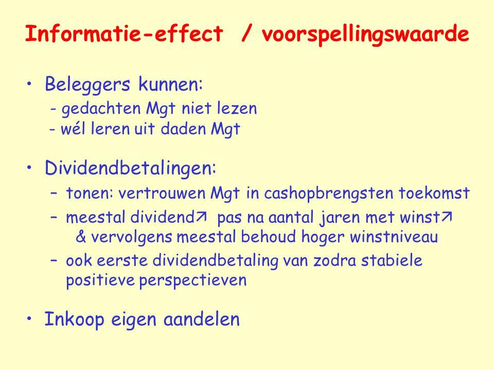 Informatie-effect / voorspellingswaarde