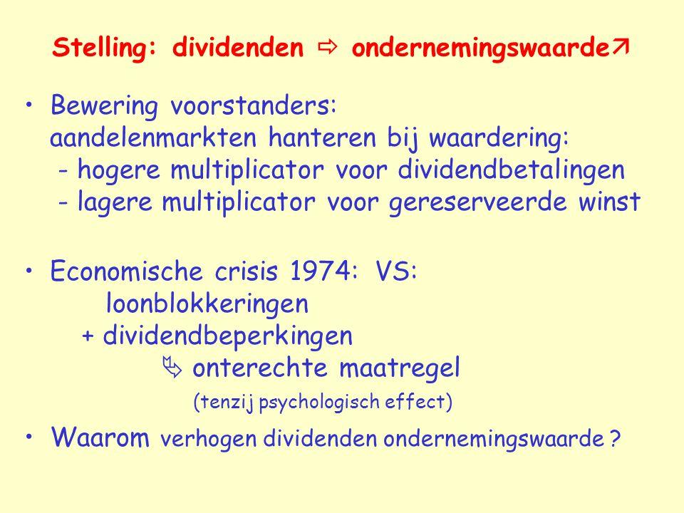 Stelling: dividenden  ondernemingswaarde