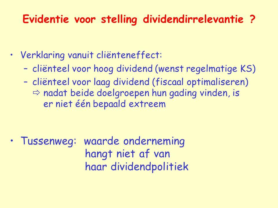 Evidentie voor stelling dividendirrelevantie
