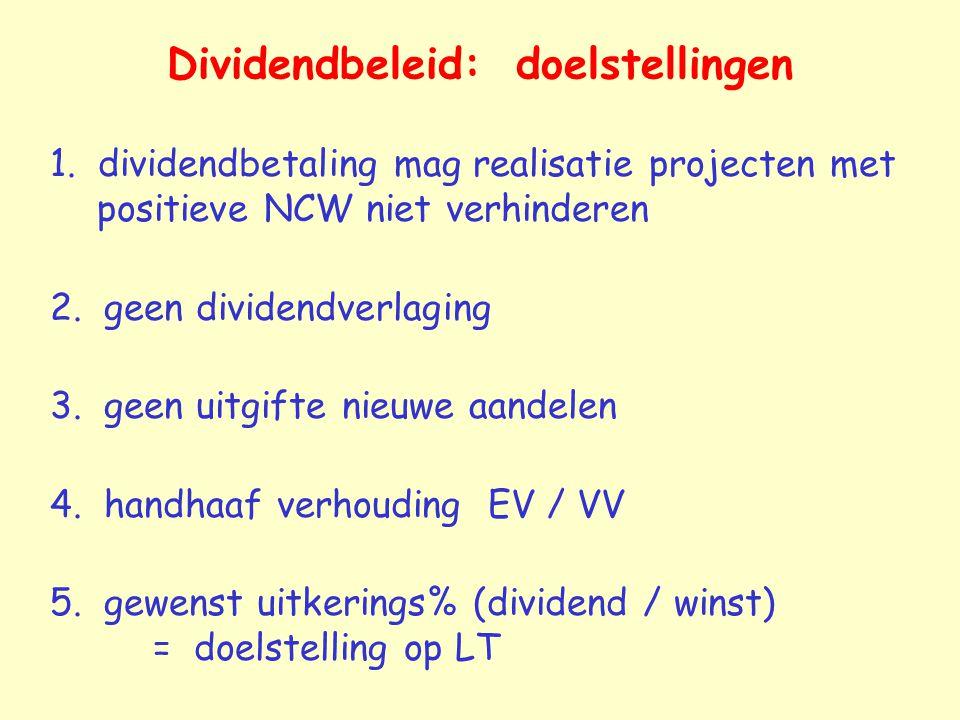 Dividendbeleid: doelstellingen