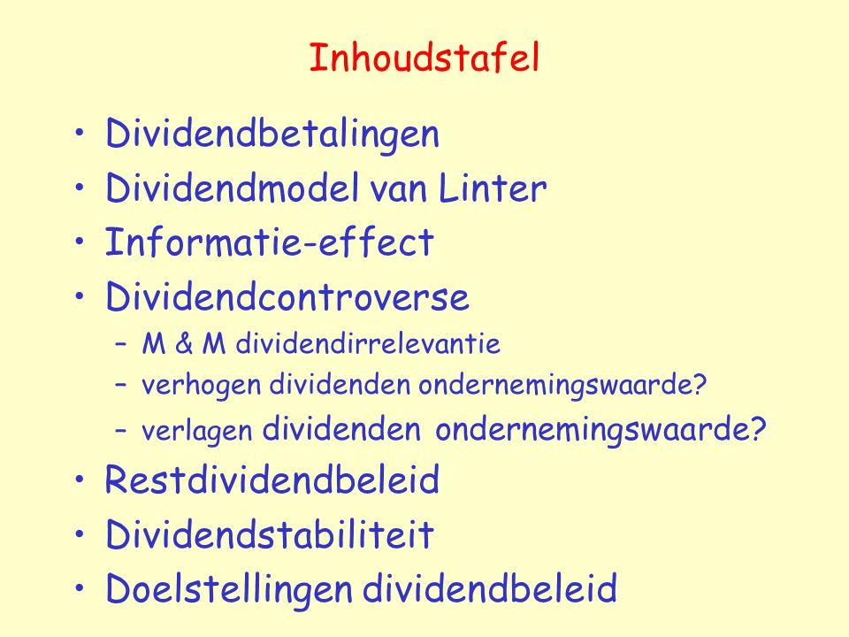 Dividendmodel van Linter Informatie-effect Dividendcontroverse