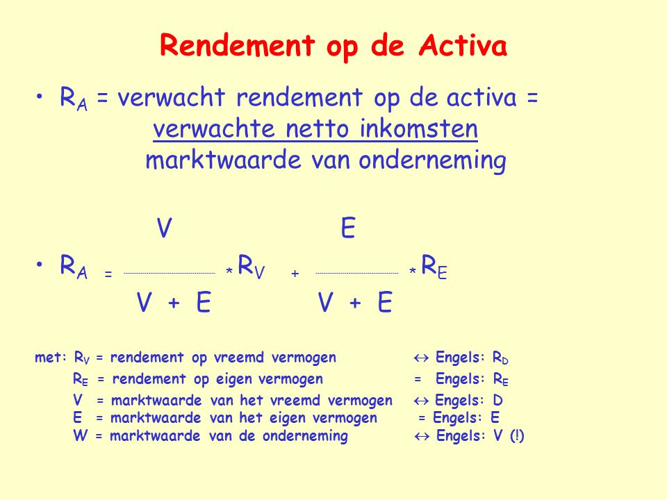 Rendement op de Activa RA = verwacht rendement op de activa = verwachte netto inkomsten marktwaarde van onderneming.