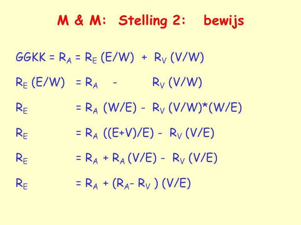 M & M: Stelling 2: bewijs GGKK = RA = RE (E/W) + RV (V/W)