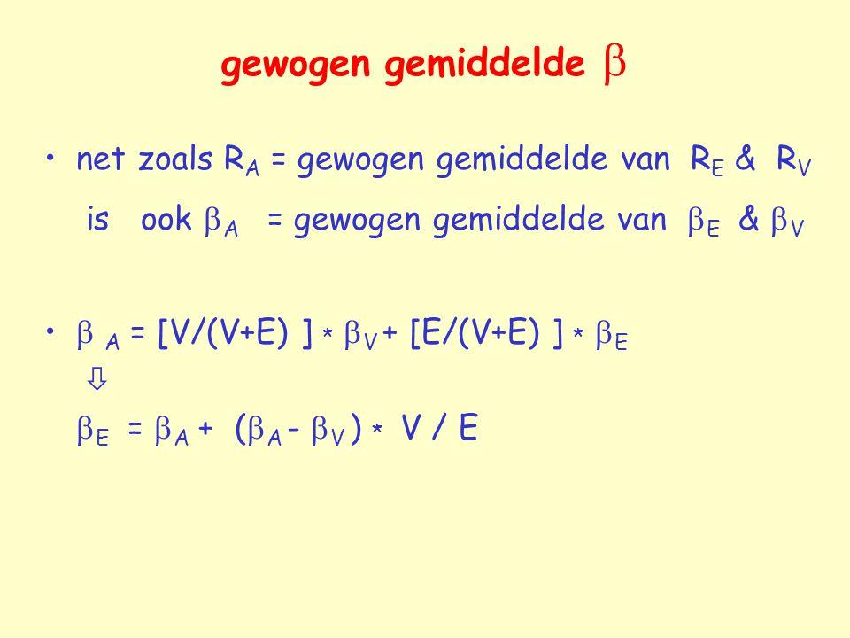 gewogen gemiddelde  net zoals RA = gewogen gemiddelde van RE & RV is ook A = gewogen gemiddelde van E & V.
