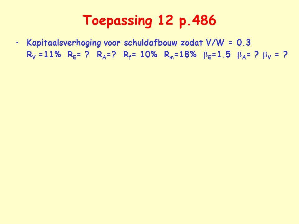 Toepassing 12 p.486 Kapitaalsverhoging voor schuldafbouw zodat V/W = 0.3 RV =11% RE= .
