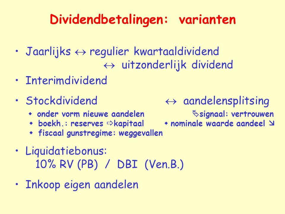 Dividendbetalingen: varianten