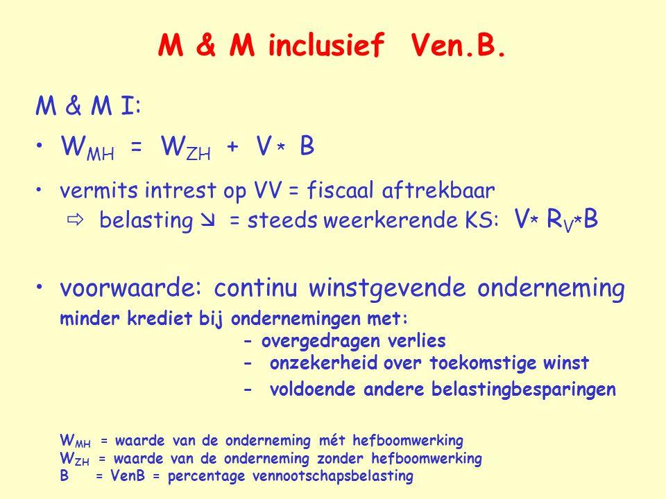 M & M inclusief Ven.B. M & M I: WMH = WZH + V * B