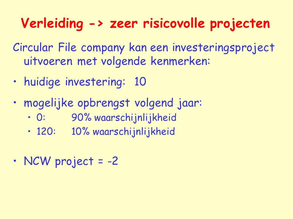Verleiding -> zeer risicovolle projecten