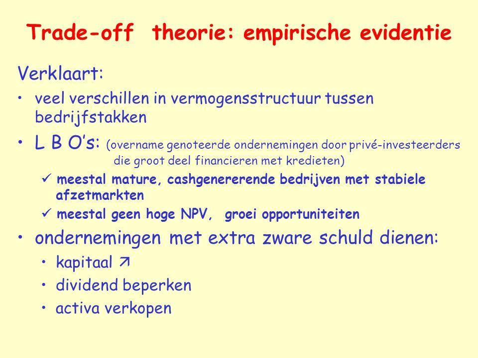 Trade-off theorie: empirische evidentie