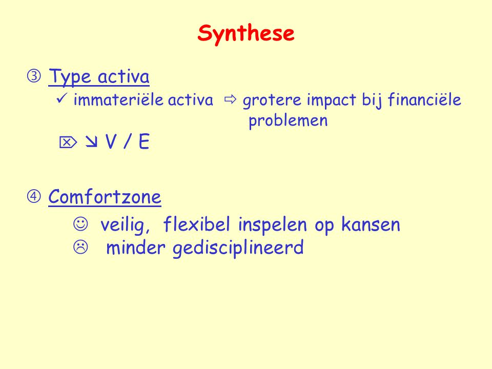 Synthese  Type activa  immateriële activa  grotere impact bij financiële problemen   V / E.