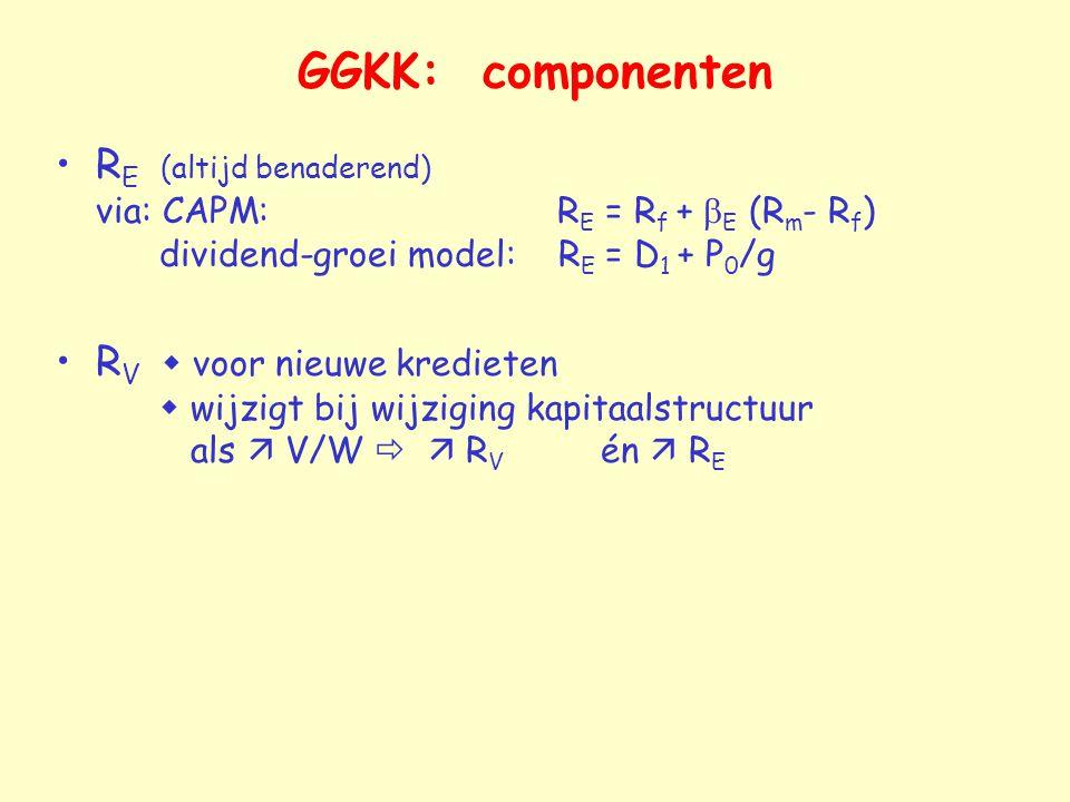 GGKK: componenten RE (altijd benaderend) via: CAPM: RE = Rf + bE (Rm- Rf) dividend-groei model: RE = D1 + P0/g.