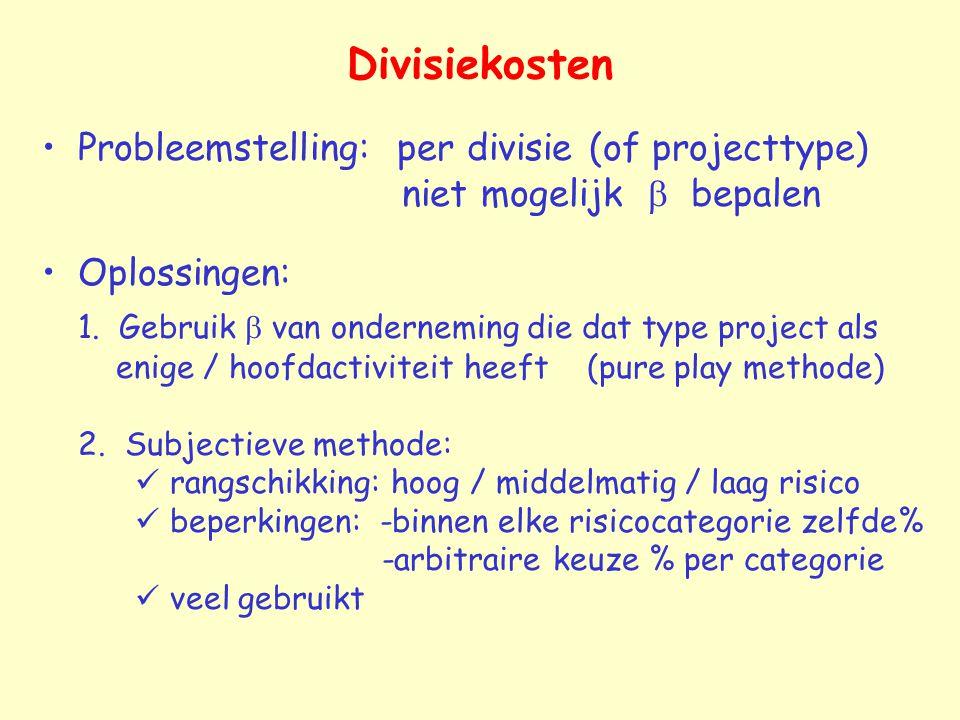 Divisiekosten Probleemstelling: per divisie (of projecttype) niet mogelijk b bepalen.