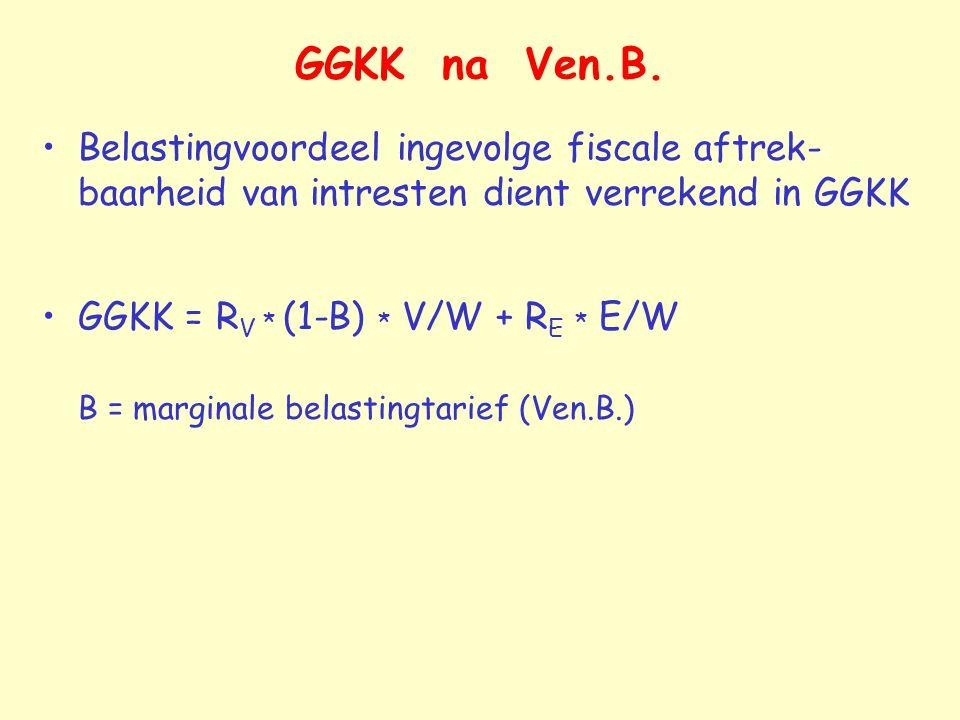 GGKK na Ven.B. Belastingvoordeel ingevolge fiscale aftrek-baarheid van intresten dient verrekend in GGKK.