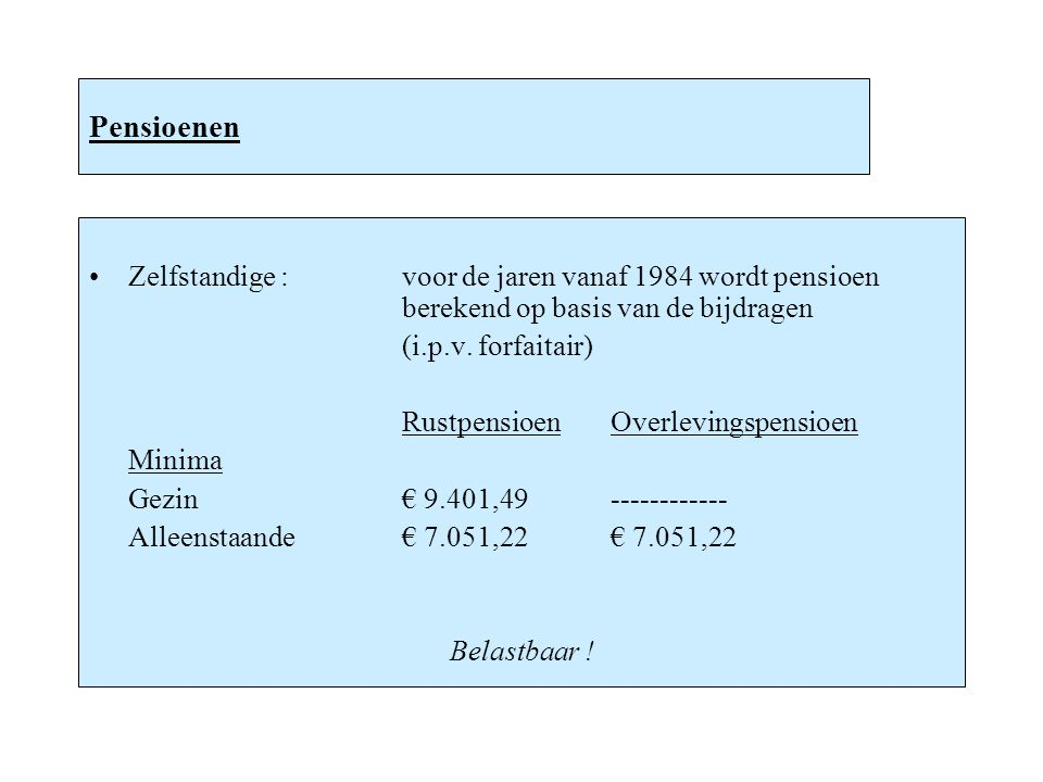 Pensioenen Zelfstandige : voor de jaren vanaf 1984 wordt pensioen berekend op basis van de bijdragen.