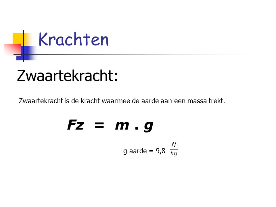 Krachten Zwaartekracht: Fz = m . g