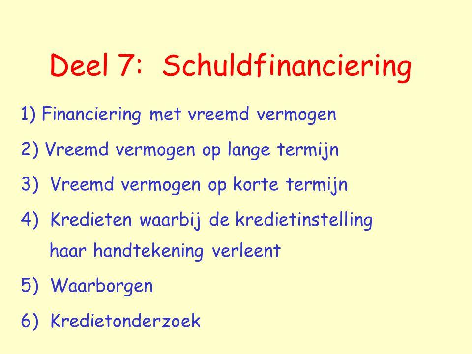 Deel 7: Schuldfinanciering
