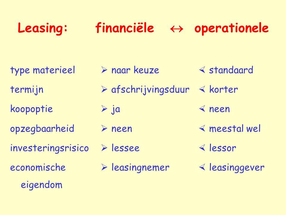 Leasing: financiële  operationele