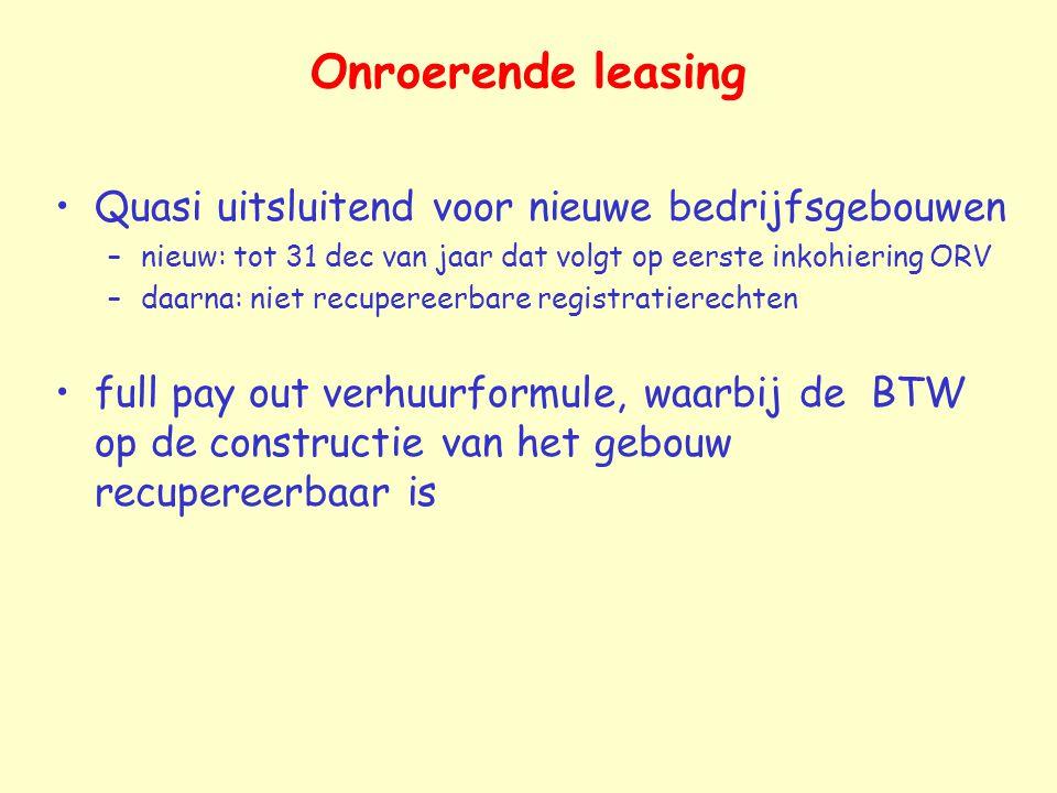 Onroerende leasing Quasi uitsluitend voor nieuwe bedrijfsgebouwen