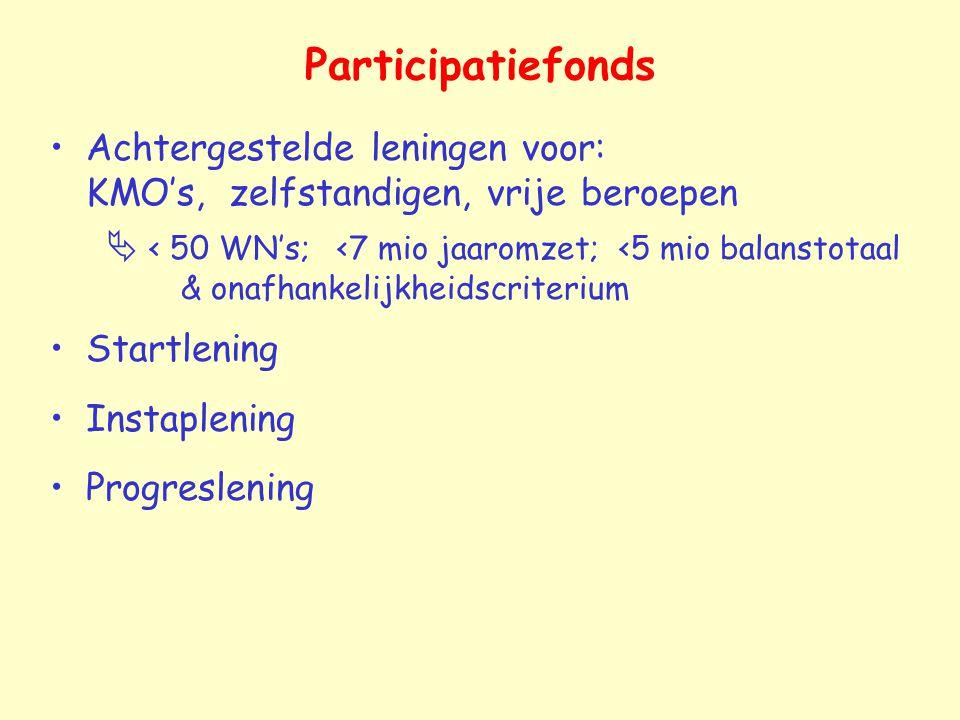 Participatiefonds Achtergestelde leningen voor: KMO's, zelfstandigen, vrije beroepen.