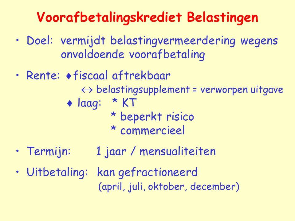 Voorafbetalingskrediet Belastingen