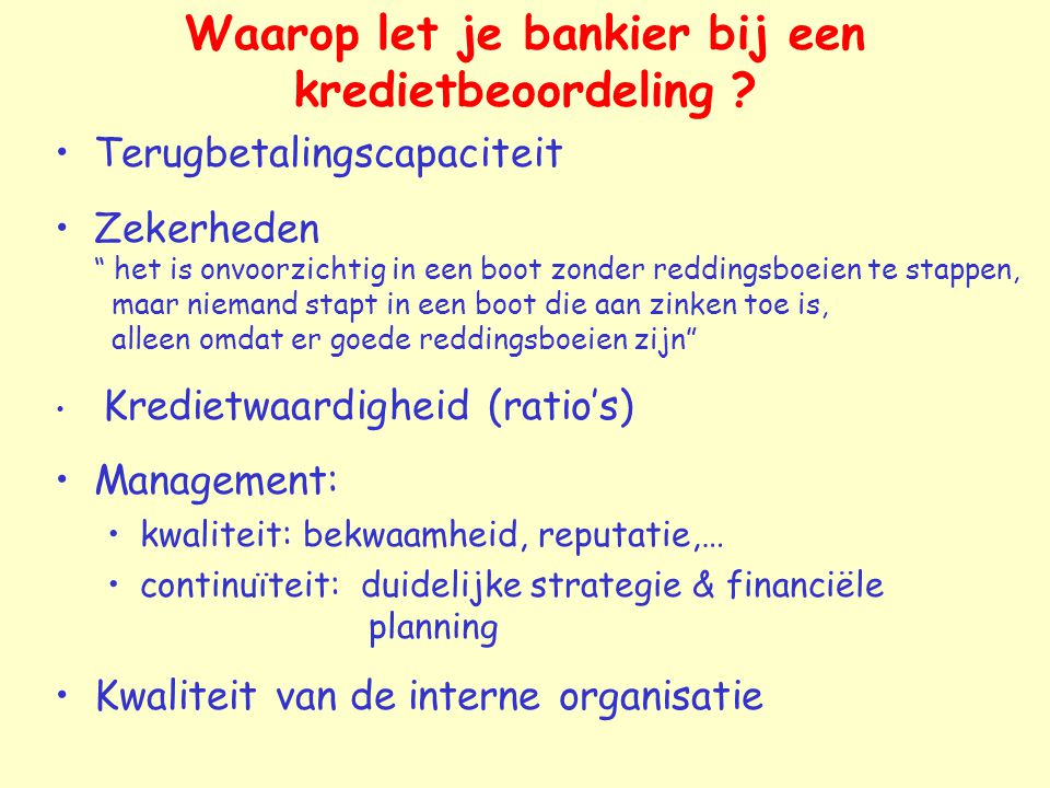 Waarop let je bankier bij een kredietbeoordeling
