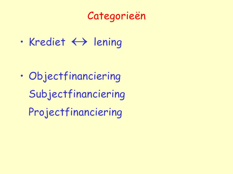 Categorieën Krediet  lening Objectfinanciering Subjectfinanciering Projectfinanciering