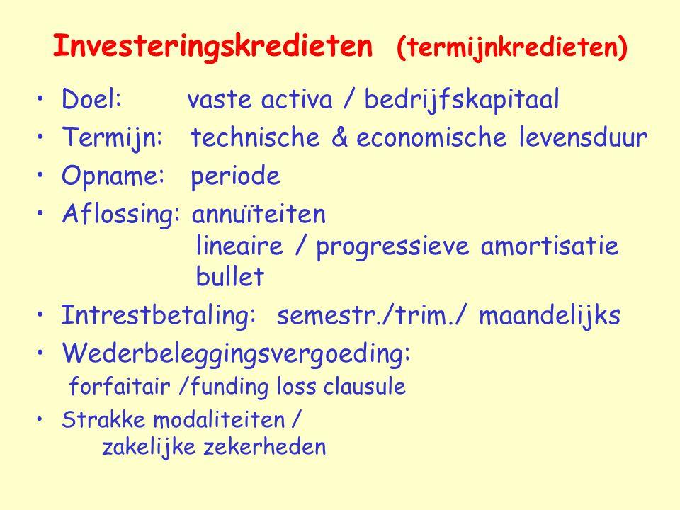Investeringskredieten (termijnkredieten)