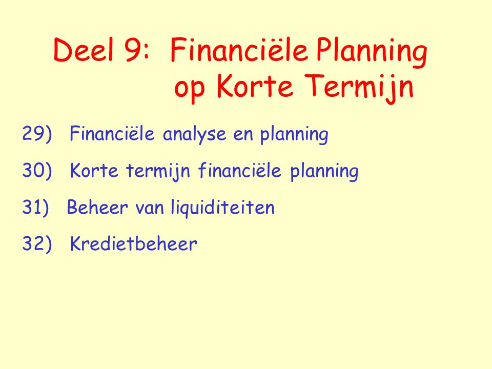 Deel 9: Financiële Planning op Korte Termijn