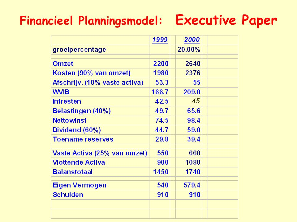 Financieel Planningsmodel: Executive Paper
