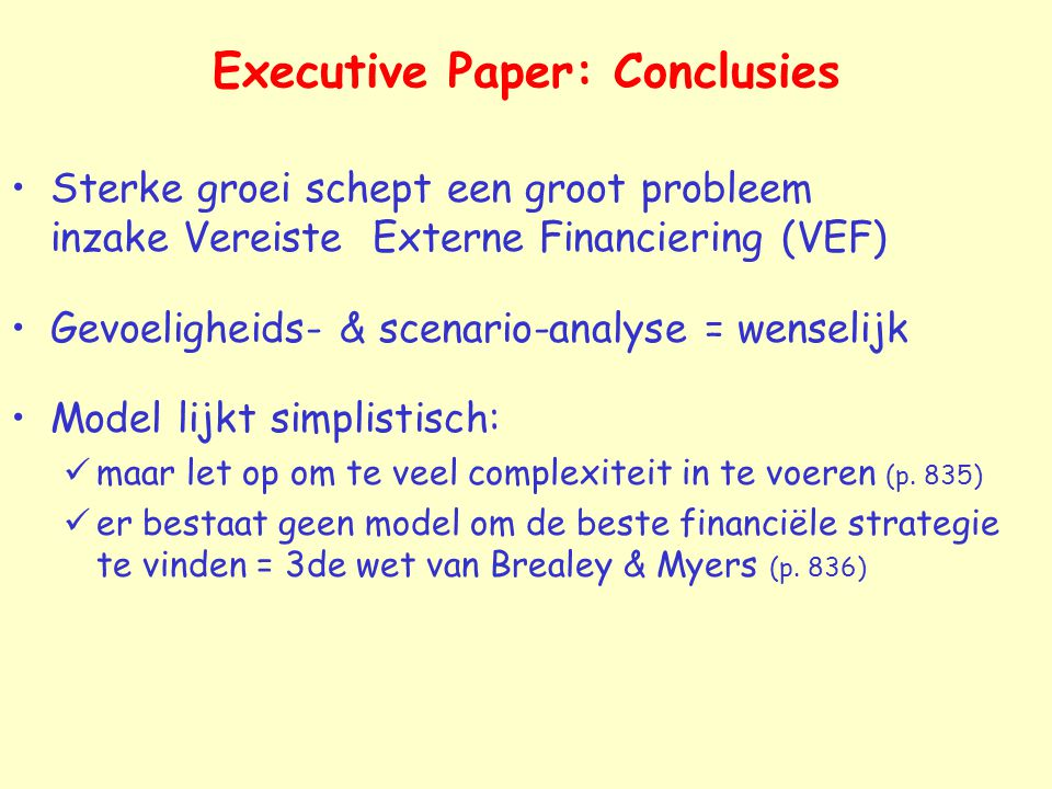 Executive Paper: Conclusies